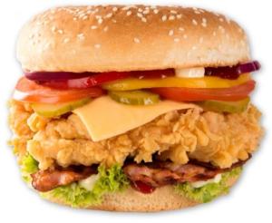 chrupiący burger z panierowanym kurczakiem