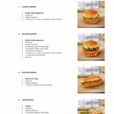 menu do lokalu z chrupiącym kurczakiem