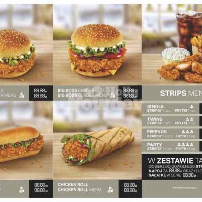 menu na stolik z kurczakiem a la kfc