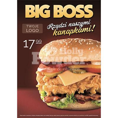 burger z kurczakiem w panierce na plakacie