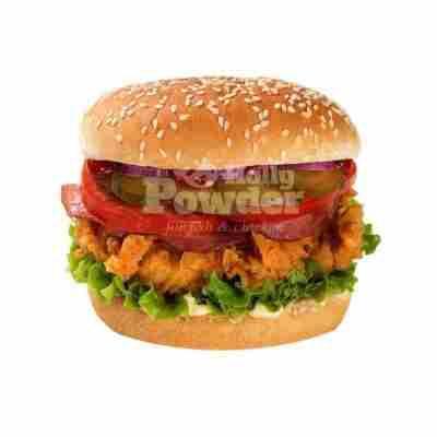 burger z panierowanymi stripsami
