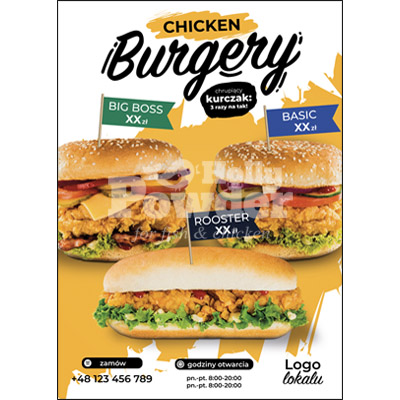plakat chrupiący kurczak w sałatce